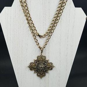 Vintage Jewelry - ART Renassaince Revival Maltese Cross Necklace